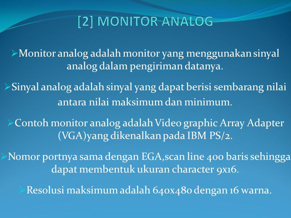 [2] MONITOR ANALOG Monitor analog adalah monitor yang menggunakan sinyal analog dalam pengiriman datanya.
